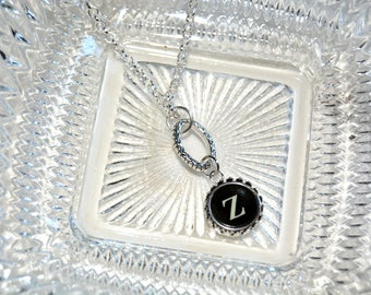 Typewriter Key Necklace, Personalized with a Letter Z Initial.  Art Deco Steampunk Style. Eco Friendly Gift.