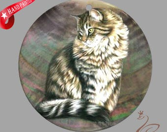 Hand painted  Cat, Hand painted pendant,Hand painted Making gifts, Painting Cat, Shell painting Cat.