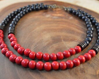 Wood Bead Necklace, Double Strand Necklace, Red And Black, Bohemian Jewelry, Statement Necklace, Red Necklace, Gameday Jewelry