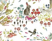 Enchanted Forest by Betsy Olmsted for Windham Fabrics- Shady Meadow Woodland Animals on White Main 43498 1