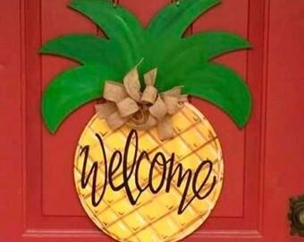 Pineapple Door Hanger, Summer Door Hanger, Chalkboard Hanger, Kitchen Hanger