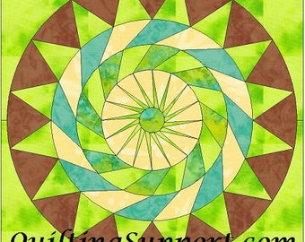 Key Lime Pie Circle 10 Inch Paper Piece Foundation Quilting Block Pattern PDF