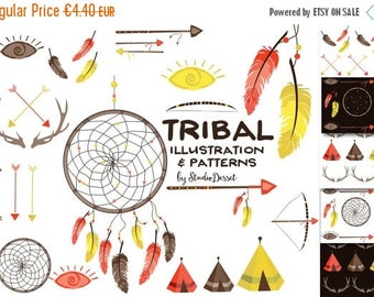 SUMMER SALE - 55% OFF Tribal Cliparts, Dreamcatcher Clipart, Indian Clip Art, Arrows, Teepee Papers Feather, Antlers Clipart Diy Wedding Ant
