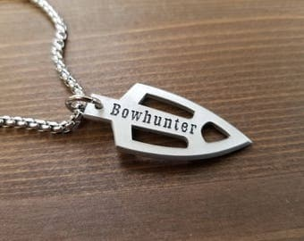 BOWHUNTER Broadhead Arrowhead Pendant Necklace with Stainless Steel Chain Little D Designs Men's Hunting Jewelry USA Made Free Shipping