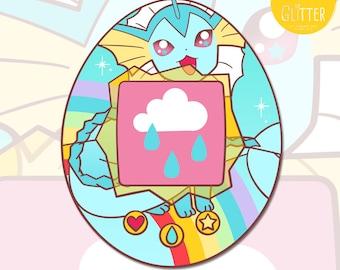 Vaporeon, Pokemon Tamagotchi Style Holographic Sticker