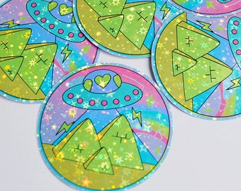 UFO Ancient Egypt Alien Holographic Sticker