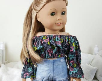 18 inch doll floral peasant blouse | floral crop top