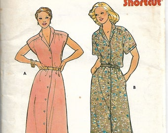 Butterick 6519, 1980s Button Front dresses with Dropped shoulders, Sewing Pattern, Sizes 36,38,40, cut to size 18