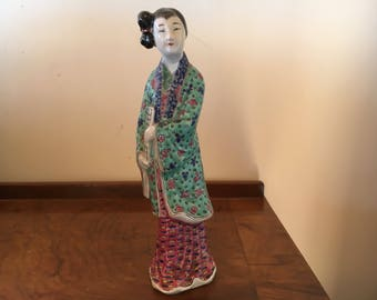"""Chinese Figurine, Teal, Flowers, Chinese Woman, With Tablet, Lovely, Textured Porcelane Pattern on Her Clothing,  7 3/4"""" High, FREE SHIP"""