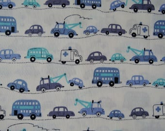 "Last Half Yard of D's Selection Blue Cars Vehicles Trucks by Daiwabo Fabric on Off White Background. Approx.18"" x 44"" Made in Japan"