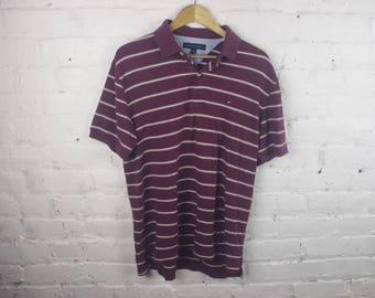 90s Tommy Hilfiger stripped shirt short sleeve dad