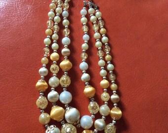 Pretty Three  Strand Muti Color Beaded Necklace