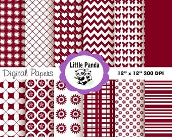 80% OFF SALE Burgundy Digital Paper Pack, Scrapbook Papers, 12 jpg files 12 x 12  - Instant Download - D26