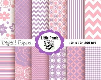 80% OFF SALE Light Pink and Lilac Digital Paper Pack, Scrapbook Papers, 12 jpg files 12 x 12  - Instant Download - D54