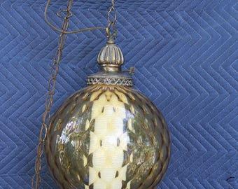Mid-Century Amber glass hanging swag light