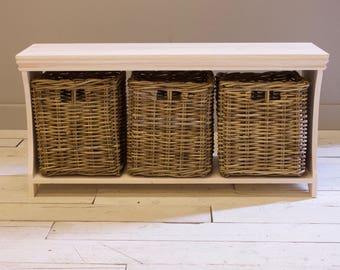 Lulworth Shoe Storage Basket Organiser Bench