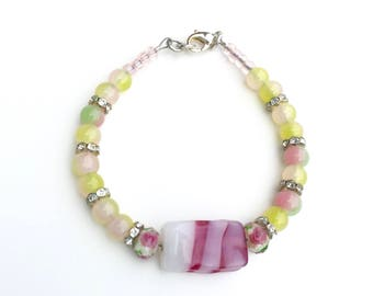Cute Bracelet, Pastel Bracelet, Rose Beads, Pretty Bracelet, Pink and Green Beaded Bracelet, Birthday Party Bracelet