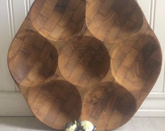 Gailcraft Lazy Susan, Wooden Lazy Susan, Mid Century, Serving Tray, Serving Dish, Relish Tray, Lazy Susan Serving Dish, Vintage Entertaining