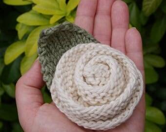 Knitted Brooch - Flower Brooch - Cream Rose - Off White Rose - Rose Brooch - Corsage - Hand Knitted - 100% Cotton - Rolled Rose - Green Leaf