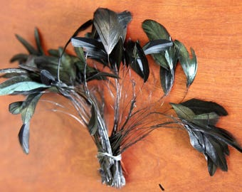 Lovely ART DECO French Milliner Vintage Flapper 1920's Feather-Iridescent Black-Delicate Wispy