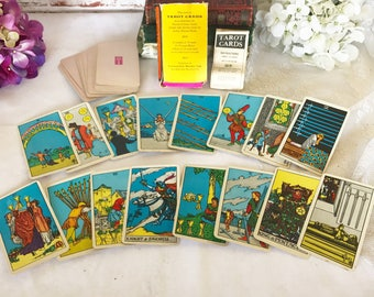RARE University Books Rider Waite Tarot Cards Deck, INCOMPLETE, The Fool Pink Ankh Astrology, Pamela Colman Smith, Arthur Edward Waite,