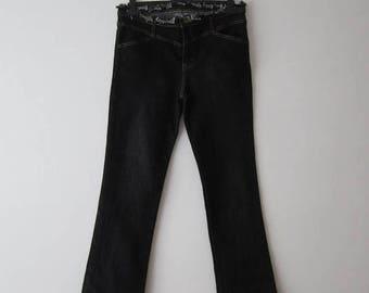 Wide Leg Jeans Black Denim Jeans Low Waist Jeans Ripped Jeans Disco Style Jeans Wide Leg Trousers Size Medium