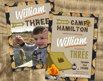 Camping Theme Birthday Invitation, Birthday invitations for boys, 1st Birthday, 2nd Birthday, Photo Invitation, Camping Party, 3rd Birthday