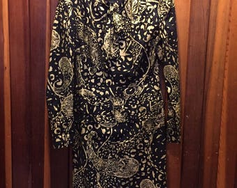 1980s // GOLD AND BLACK // Vintage Abstract Print Long Sleeve Black Dress