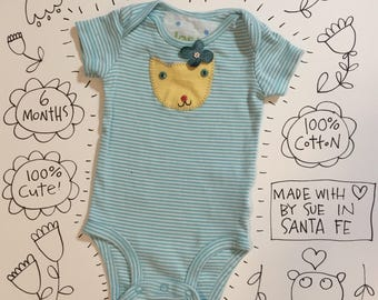 turquoise striped baby onesie