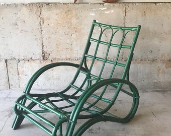 Vintage Mid Century Green Rattan Chair