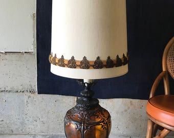 Huge Vintage 1970s 4ft Amber Glass Lamp