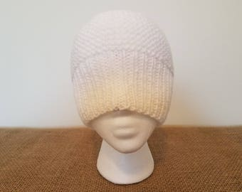 White beanie hat, Size small/medium