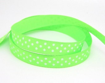 3 meters of Green Ribbon with polka dots grosgrain Ribbon 10mm