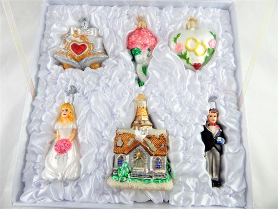 Old World Christmas Wedding Ornaments in Box Set of 6