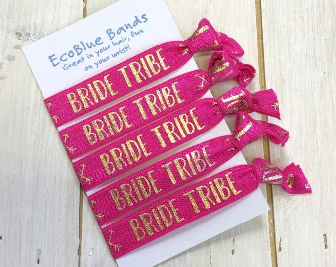 Hair elastics, soft stretch hair ties, ponies, yoga hair ties, ponytail holders - Bride tribe (pink)