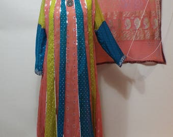 Ladies Long beaded chiffon pink yellow and green tussle dress  pants and shall pakistan 3 pc suit  size S-M
