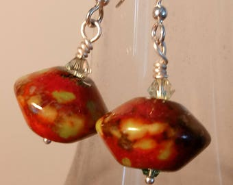 Cherry Bomb Earrings / Lampwork Earrings / Red Bead Earrings / Red and Green Earrings / Artisan Earrings / Glass Bead Earrings Boho Earrings
