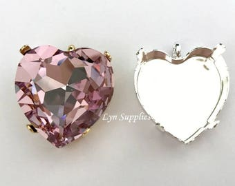 Heart Pendant Setting 28mm Gold / Silver Plated, Nickel Free, Fits Swarovski 4827 Heart