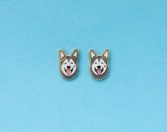 Husky Enamel Earrings with Rubber Stud // Hard Enamel, Jewelry, Studs