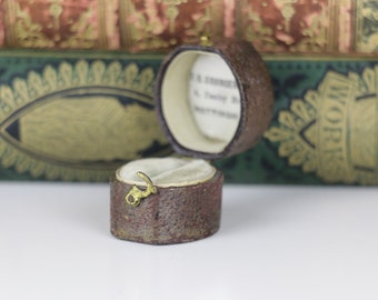 Ring Box Antique Chocolate Brown with Gold Clasp and cream interior Antique