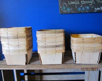 Vintage stack of 23 Wood Slat Strawberry Berry Baskets Quart Size Berry Baskets Split Wood Vented Baskets