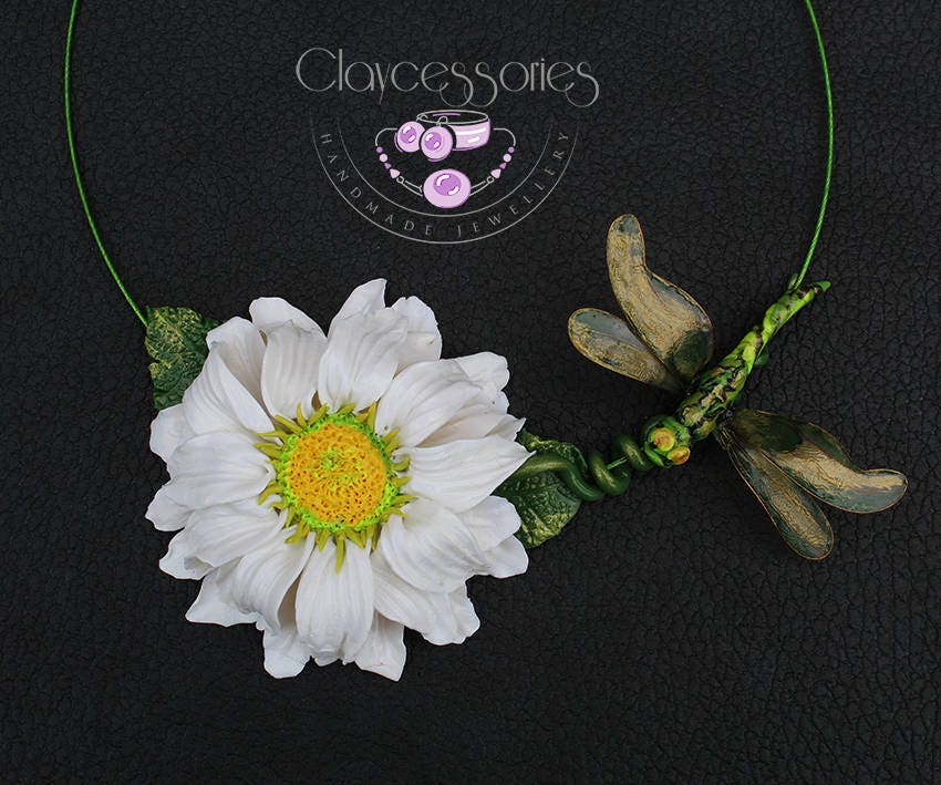 Chamomile necklace / dragonfly necklace / Floral necklace / Statement necklace / Choker necklace / Flowers necklace / Polymer clay necklace