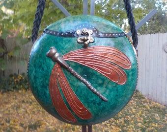 gourd,gourd purses,fine gourd art,dragonfly gourd purse,dragonfly,decorative gourd art,painted gourds,leaf gourd,copper gourd purse