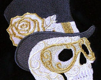 Single hand towel - harlequin masquerade skull in top hat - EMBROIDERED bathroom towel 15 x 25 inch (38 x64 cm)