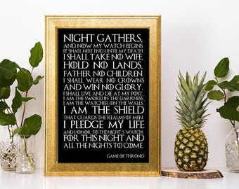 Game of Thrones Night's Watch oath  inspired canvas or print  gift home any colour present christmas birthdays can be personalised with name