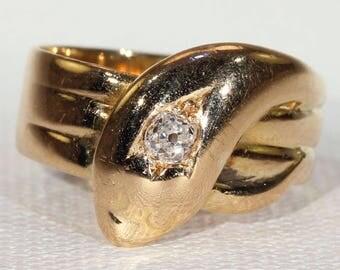 Antique Gold Diamond Snake Ring