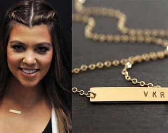 Gold Bar Necklace, Initial Bar, Nameplate bar, Name necklace, Valentines day, Horizontal bar pendant, Monnogramed bar, Gift for her