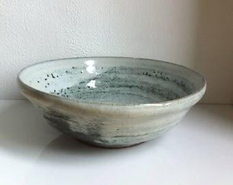 Vintage Studio Art Pottery Fat Lava White & Duck Egg Green Bowl Planter Pot