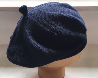 Navy cotton beret, indigo knit tam, women's cotton beret, ladies' navy tam, classic navy beret, vegan hat, navy hat
