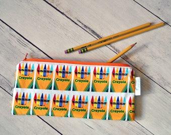Pencil Pouch, Zipper Pouch, Zipper Bag, Crayon Pencil Pouch, Zippered Pencil Case, Pencil Holder